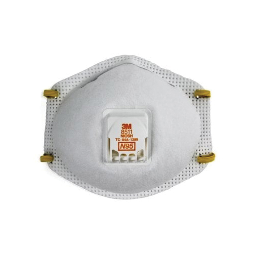 3M™ 051138-54343 8511 Cup Style Disposable Particulate Respirator With Cool Flow™ Exhalation Valve and Adjustable M-Nose Clip, Standard, Resists: Airborne Biological Particles, Certain Oil, Non-Oil Based Particles, Dust and other Particles