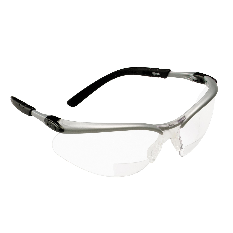 3M™ BX™ 078371-11376 Reader Protective Eyewear, +2.5 Diopter, Clear Lens, Black/Silver, Plastic Frame, Polycarbonate Lens, 99.9 % UV Protection, ANSI Z87.1-2015