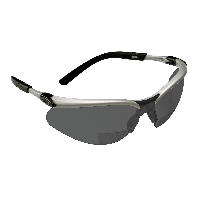 3M™ BX™ 078371-11377 Reader Protective Eyewear, +1.5 Diopter, Gray Lens, Black/Silver, Plastic Frame, Polycarbonate Lens, 99.9 % UV Protection, ANSI Z87.1-2015
