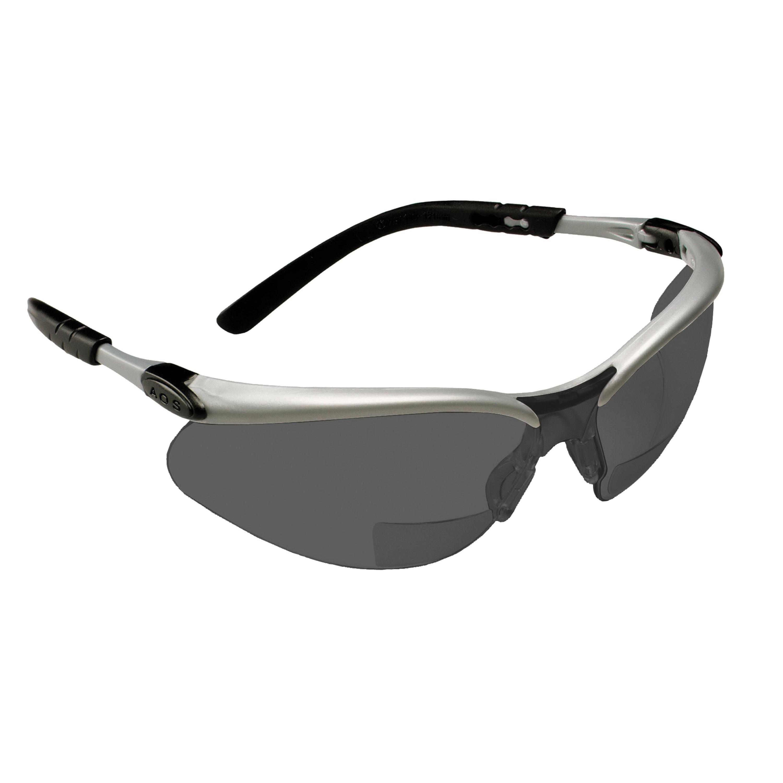 3M™ BX™ 078371-11378 Reader Protective Eyewear, +2 Diopter, Gray Lens, Black/Silver, Plastic Frame, Polycarbonate Lens, 99.9 % UV Protection, ANSI Z87.1-2015