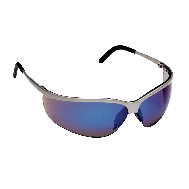 3M™ Metaliks™ 078371-11540 Sport Protective Eyewear, Anti-Scratch/Mirror, Blue Lens, Half Frame, Nickel, Metal Frame, Polycarbonate Lens, ANSI Z87.1-2015, ANSI Z87.1-2003