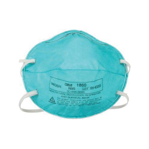 3M™ 1860 Particulate Healthcare Respirator, Standard, N95 Filter, Resists: Fluid