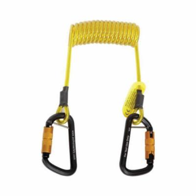 3M DBI-SALA Fall Protection 1500063 Python Safety® Hook2Hook Hook to Hook Coil Tether, 5 lb Load, 62 in L, Vinyl Line, 1 Leg, Self-Locking Aluminum Carabiner Harness Connection Hook