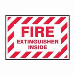 Accuform® LFXG515XVE Flexible Fire Extinguisher Label, 5 in L x 3-1/2 in W, FIRE EXTINGUISHER INSIDE Legend, Red/White, Adhesive Dura-Vinyl™, 1 per Pack Labels