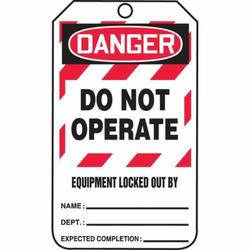 Accuform® MLT409CTP Lockout Safety Tag, 5-3/4 in H x 3-1/4 in W, Black/Red/White, 3/8 in Hole, Cardstock