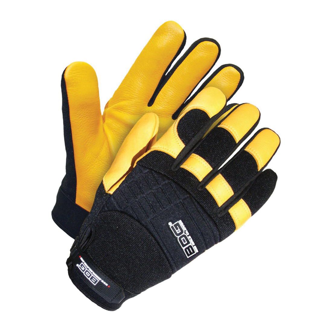 BDG X-SITE™ 20-1-10609-L Breathable Premium Grade General Purpose Gloves, Mechanics, Padded Knuckle/Wing Thumb Style, L/SZ 11, Grain Deerskin Leather Palm, Grain Deerskin Leather/Neoprene/Spandex®, Black/Gold, Elastic Wrist Cuff, Resists: Abrasion