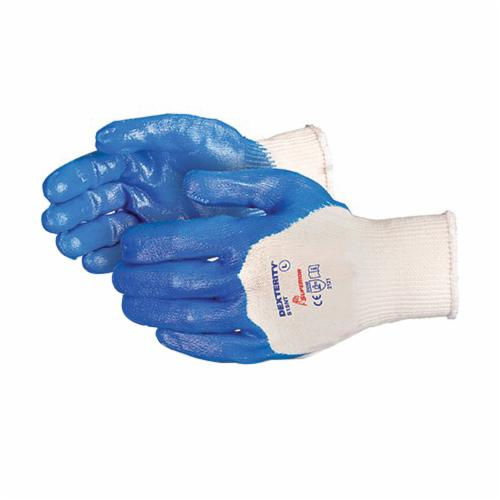 Dexterity® S15NT-10 General Purpose Gloves, Coated, SZ 10, Nitrile Palm, 15 ga Cotton, Blue/White, Knit Wrist Cuff, Nitrile Coating, Resists: Abrasion, Cut and Puncture, Seamless