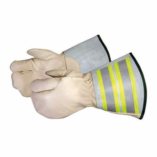 Endura® 361DLXFTLL Deluxe General Purpose Gloves, Lineman/Rigging, Thumb/Palm Patch Style, L, Grain Horsehide Leather Palm, Grain Horsehide Leather/Kevlar®, Hi-Viz Fluorescent Yellow/Silver Strip, Reflective Gauntlet Cuff, Resists: Oil, Stain and Water