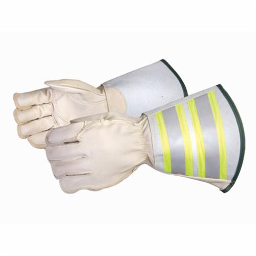 Endura® 365DLXFTLM Deluxe General Purpose Gloves With 6 in Reflective Gauntlet Cuff, Lineman/Rigging, Thumb/Palm Patch Style, M, Grain Horsehide Leather Palm, Kevlar®, Beige/Hi-Viz Yellow, Reflective Gauntlet Cuff, Resists: Water, Oil and Stain