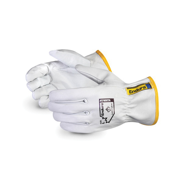Endura® 378GKTAXL General Purpose Gloves, Drivers, XL, Goatskin Leather Palm, Goatskin Leather/Polyester, White, Slip-On Cuff, Resists: Abrasion and Puncture, Unlined Lining, Keystone Thumb