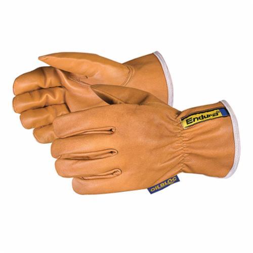 Endura® 378GOBKLL General Purpose Gloves, Drivers, L, OilBloc™/Grain Goatskin Leather, Tan, Slip-On Cuff, Resists: Abrasion, Arc Flash, Cut, Flame, Oil, Spark and Stain, Kevlar® Lining, Summer/Seamless