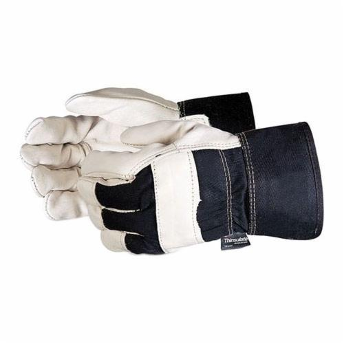 Endura® 76BFTL Heavyweight Fitter General Purpose Gloves, Leather, Grain Split Cowhide Leather Palm, Cotton/Grain Split Cowhide Leather, Safety Cuff, Resists: Abrasion, Oil, Scrapes and Water, 3M™ Thinsulate™ Lining, Gunn Cut