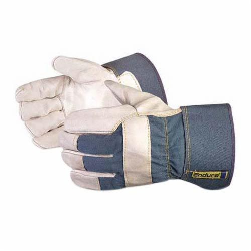 Endura® 76B Heavyweight General Purpose Gloves, Fitters, Gunn Cut Style, L, Cowgrain Leather Palm, Cotton/Top Grain Cowhide Leather, Band Top/Safety Cuff, Resists: Abrasion, Cut, Oil, Scrapes and Water, Cotton Lining