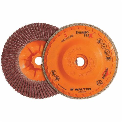 Walter Surface Technologies Enduro-Flex™ 06B504 06-B Close Spin-On Coated Flap Disc, 5 in Dia Disc, 40 Grit, Coarse Grade, Zirconia Alumina Abrasive, Type 27S Disc