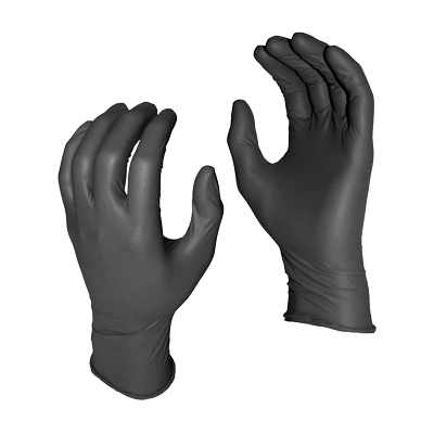 Grease Monkey™ 5555PF-L Disposable Gloves, L, Nitrile, Black, 11 in L, Non-Powdered, Textured, 8 mil THK, Ambidextrous Hand
