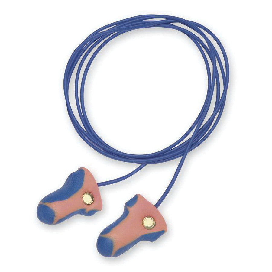 Howard Leight by Honeywell LT-30 Laser Trak® Metal Detectable Earplugs, 33 dB Noise Reduction, T-Shape Shape, ANSI S3.19-1974, Disposable, Corded Design