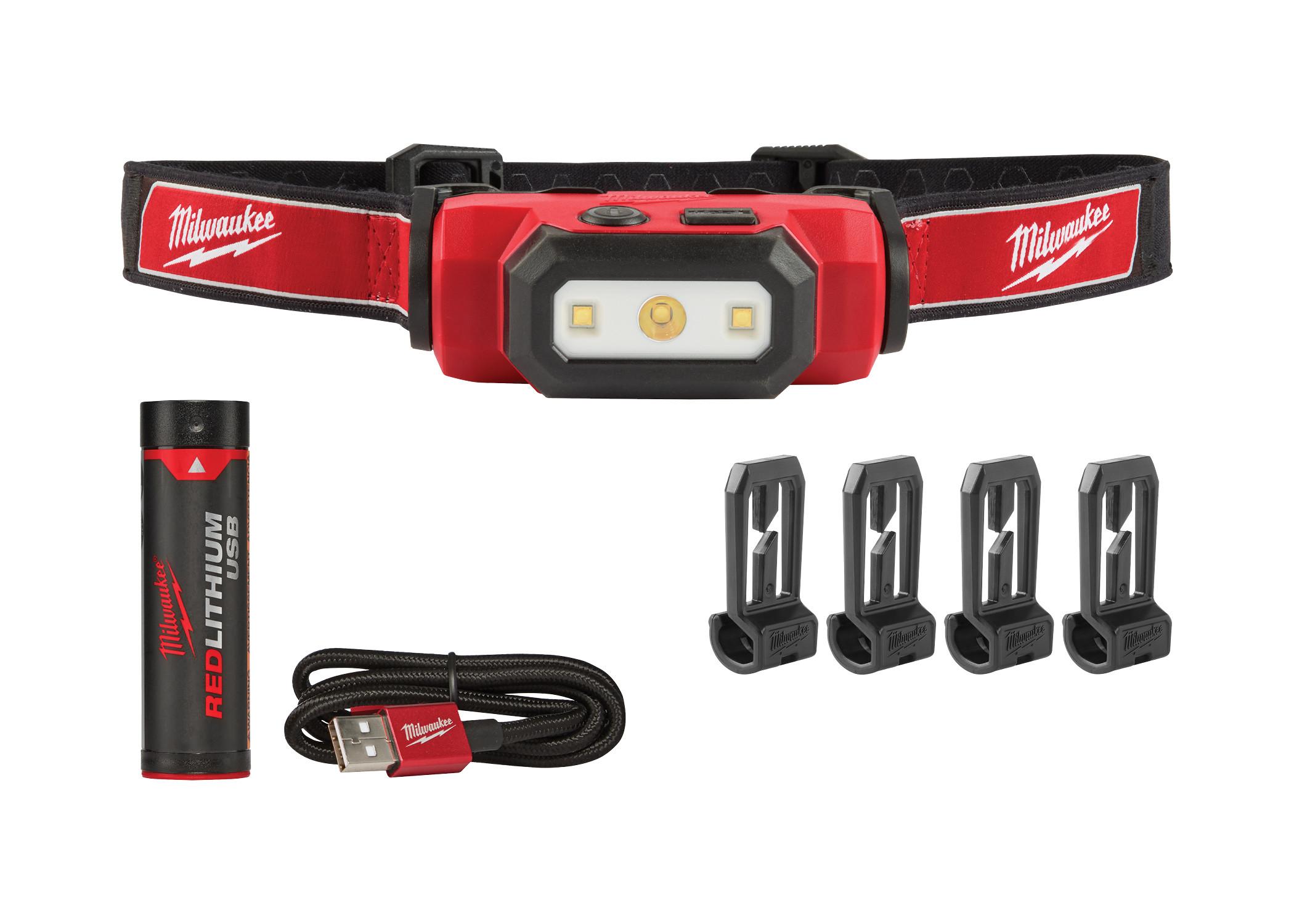 Milwaukee® 2111-21 Hard Hat USB Rechargeable Headlamp, LED Bulb, Plastic Housing, 475 Lumens Lumens