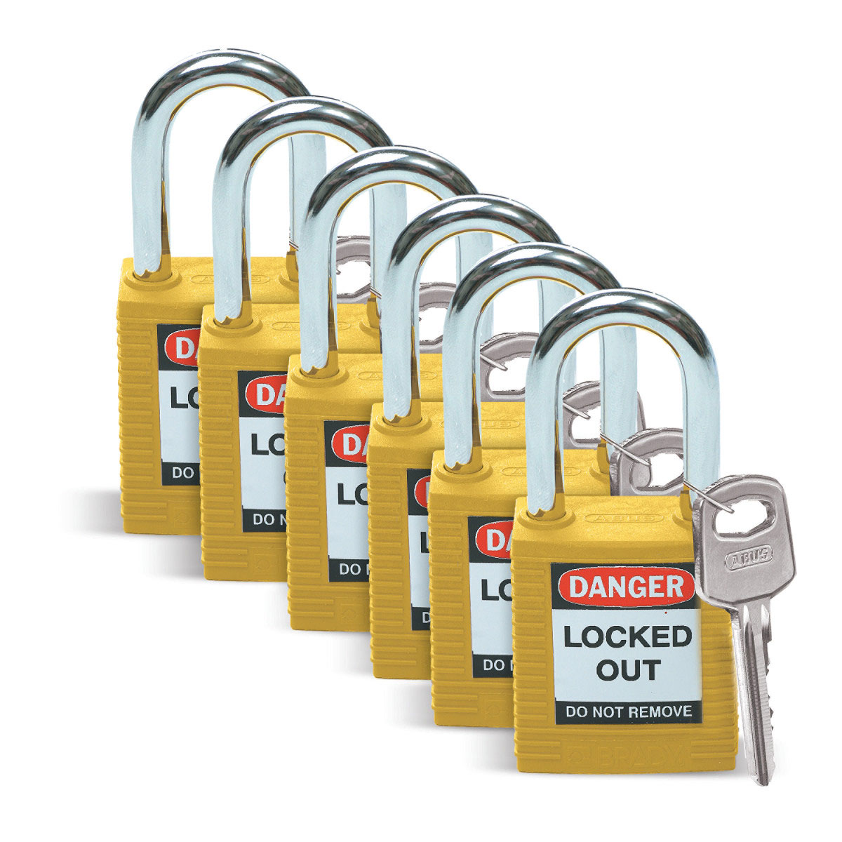 Brady® 51346 Compact Open Shackle Lockout Padlock, Different Key, Yellow, Nylon Body, 1/4 in Dia x 1-1/2 in H x 0.8 in W Steel Shackle, 1-3/4 in L Body