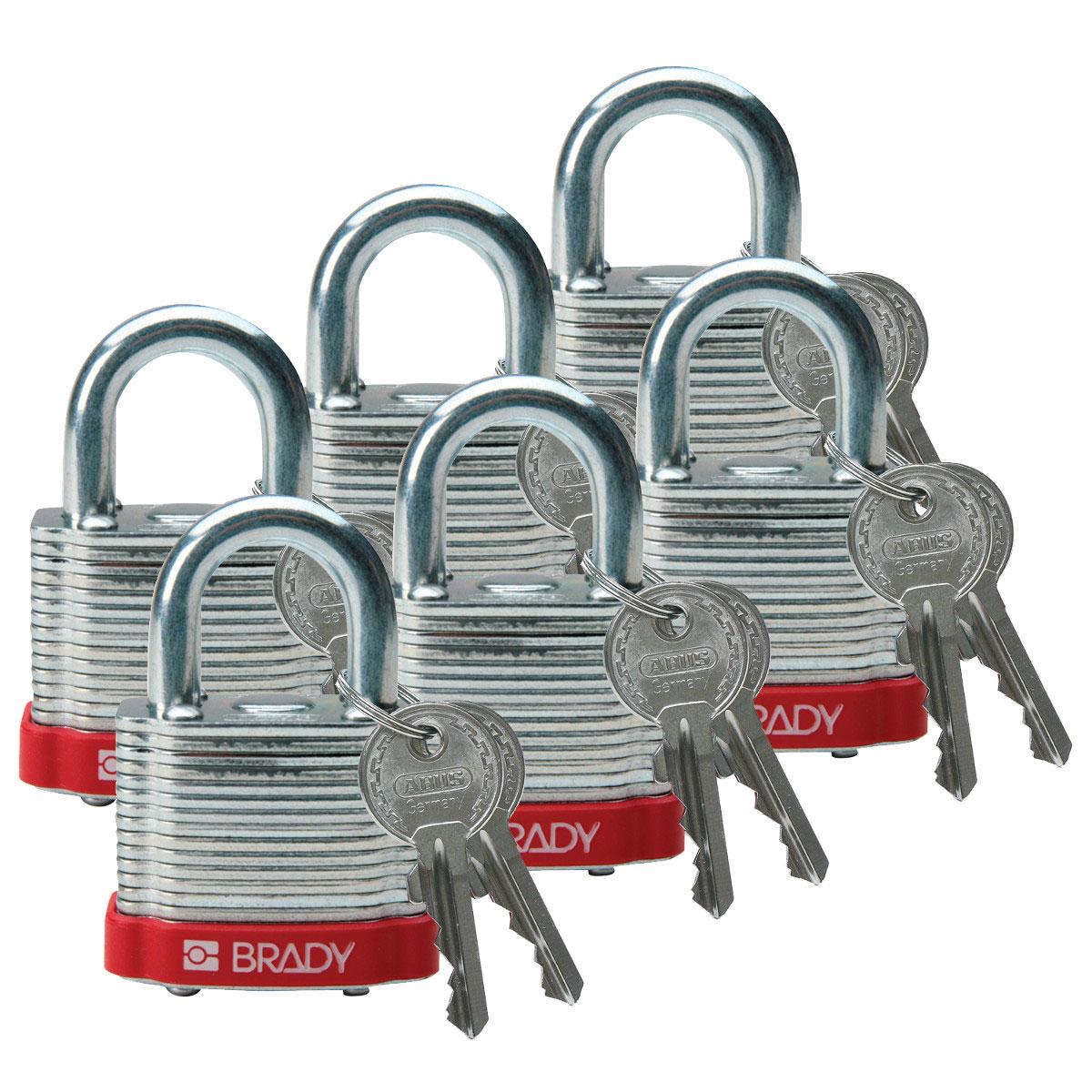 Brady® 51279 Heavy Duty Open Shackle Safety Lockout Padlock, Different Key, Red, LOTO-12 Reinforced Laminated Steel Body, 1/4 in Dia x 3/4 in H x 0.8 in W Triple Coated Hardened Steel Shackle, 1.4 in L Body