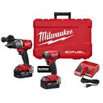 Milwaukee® M18™ FUEL™ 2999-22 2-Tool Cordless Combination Kit, Tools: Hammer Drill, Hex Hydraulic Driver, 18 VDC, 5 Ah Lithium-Ion REDLITHIUM™ Battery, 1/4 in Tip