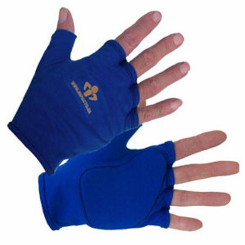 Impacto® 501-00-L Anti-Impact Glove Liner, L/SZ 9, Polycotton Fabric, Blue, Fingerless Style