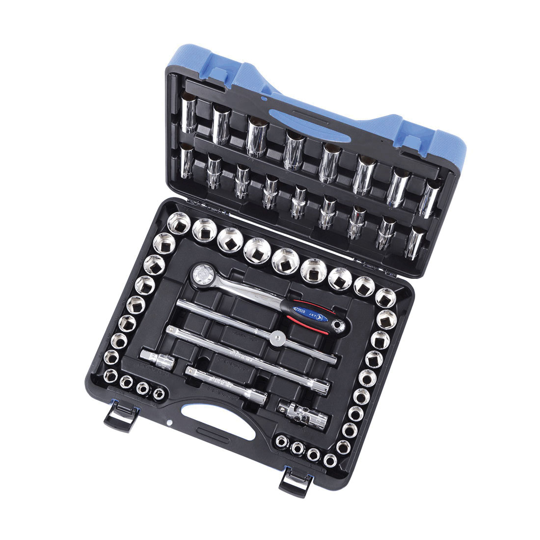 JET 600341 Socket Wrench Set, ANSI Specified, Canadian Government Specification CDA39-GP-12b, US Federal Specification GGG-W-641E, Imperial/Metric, 6 Points, 1/2 in Drive, 55 Pieces, Blow Mold Case with Removable Lid Container