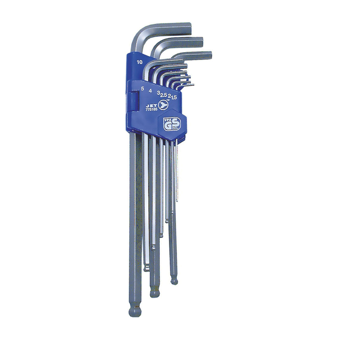JET 775185 Ball Nose Extra Long Hex Key Set, Metric, 9 Pieces, 1.5 to 10 mm Hex, ANSI Specified, S2 Steel
