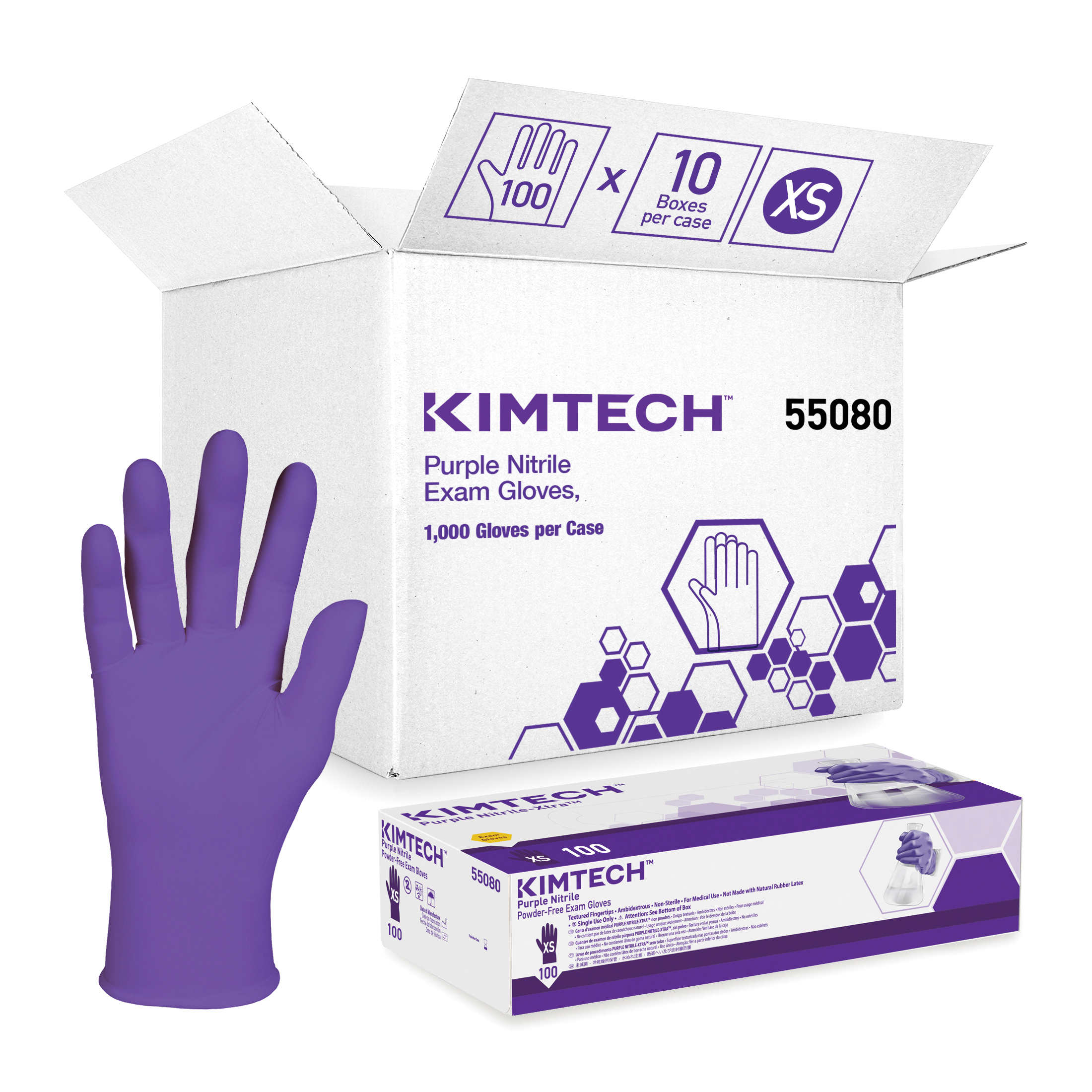 Kimberly-Clark* 55080 NITRILE* Disposable Gloves, XS, Nitrile Polymer, Purple, 9-1/2 in L, Non-Powdered, Textured, 6 mil THK, Application Type: Exam/Medical Grade, Ambidextrous Hand