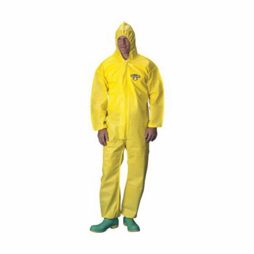 Lakeland® C1B428-2X Protective Coverall With Respirator Fit Hood and Attached Hood, 2XL, Yellow, ChemMax® 1 (Polyethylene Barrier Film/Non-Woven Filament), 52 to 54 in Chest, 29 in L Inseam