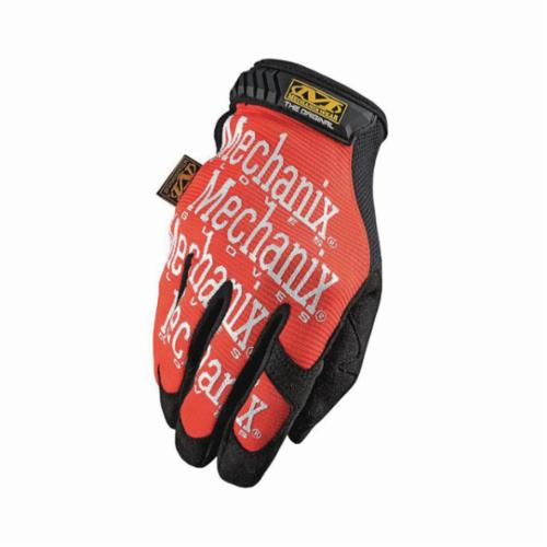 Mechanix Wear® MG-09-010 The Original MG General Purpose Gloves, Utility, Full Finger/Seamless/Wing Thumb Style, L/SZ 10, Synthetic Leather/Spandex® Palm, Nylon, Orange/White, Hook and Loop Cuff, Foam Lining