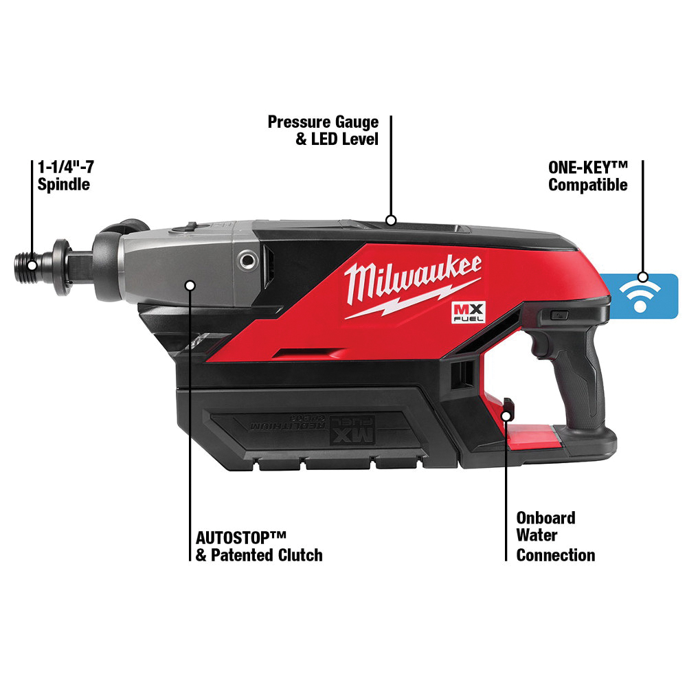 Milwaukee® MX FUEL™ MXF301-1CP Handheld Core Drill Kit, 1-1/4 to 7 in Chuck, 790/1550 rpm No-Load, MX FUEL™ REDLITHIUM™ Lithium-Ion Battery