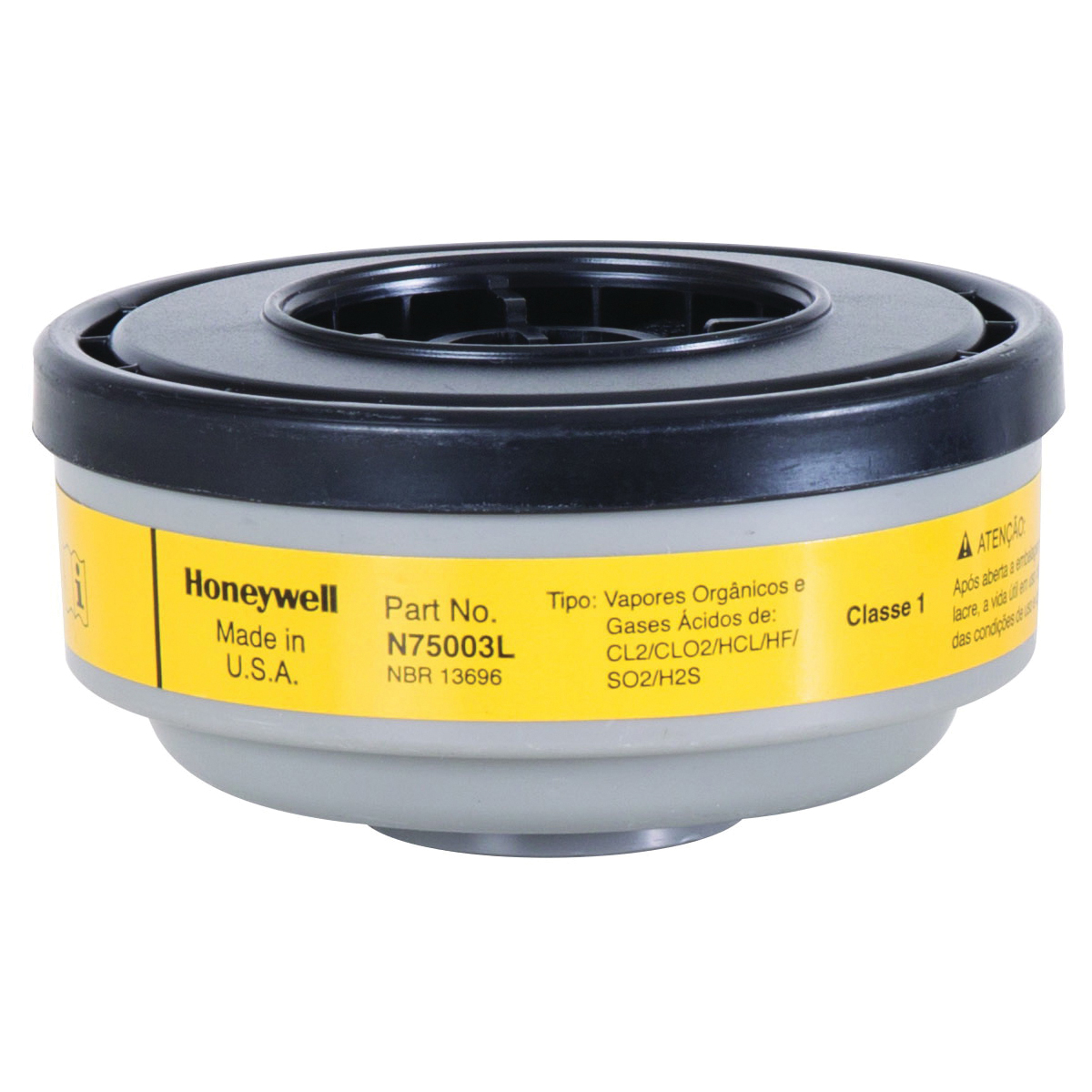 North® by Honeywell N75003L APR Cartridge, For Use With 5400, 5500, 7600 and 7700 Series Respirators, Threaded Connection, Resists: Chlorine, Chloride Dioxide, Hydrogen Chloride, Hydrogen Fluoride and Sulfur Dioxide