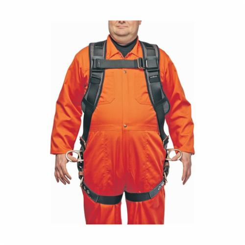 North® by Honeywell FP80K/3DYQ320 Rite-On II Heavy Duty Harness, 440 lb Load, Polyester Strap, Tongue Leg Strap Buckle, Tongue Chest Strap Buckle, Alloy Steel/Carbon Steel Hardware