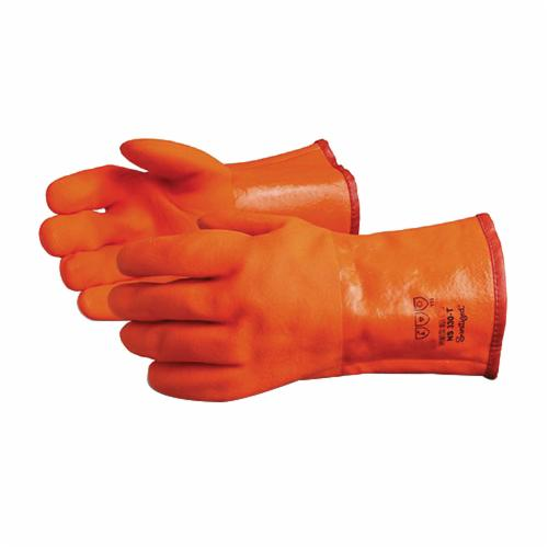 North Sea™ NS330 Premium Grade Chemical-Resistant Gloves, Universal, PVC, Orange, Triple Foam Lining, 12 in L, Resists: Chemical, Crack and Oil, Gauntlet Cuff