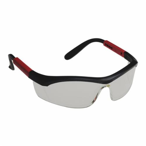 North® by Honeywell T57505B TORNADO™ F5 T5750 Safety Eyewear, Anti-Fog, Clear Lens, Half Framed Frame, Black/Red, Elasto LT Frame, Polycarbonate Lens, ANSI Z87.1-2010, CSA Z94.3