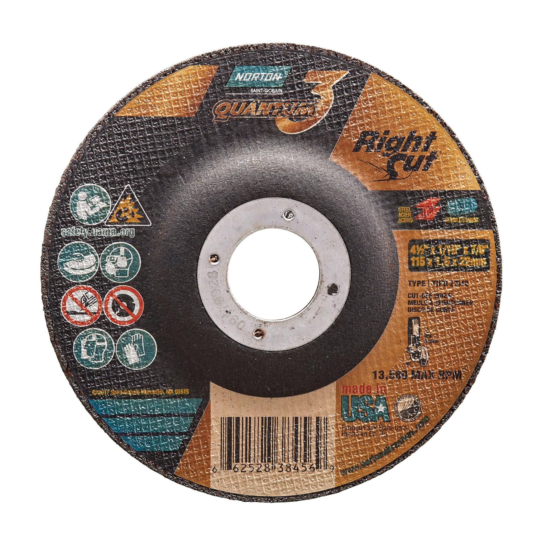 Norton® Quantum™3 66252838456 Depressed Center Wheel, 4-1/2 in Dia x 1/16 in THK, 7/8 in Center Hole, 36 Grit, Ceramic Alumina Abrasive