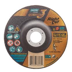 Norton® Quantum™3 66252838464 Depressed Center Wheel, 5 in Dia x 1/16 in THK, 7/8 in Center Hole, 36 Grit, Ceramic Alumina Abrasive