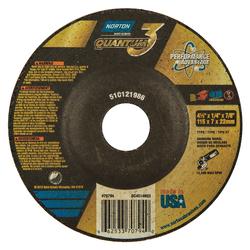 Norton® Quantum™3 66253370794 SG Series Depressed Center Wheel, 4-1/2 in Dia x 1/4 in THK, 7/8 in Center Hole, 20 Grit, Ceramic Alumina Abrasive