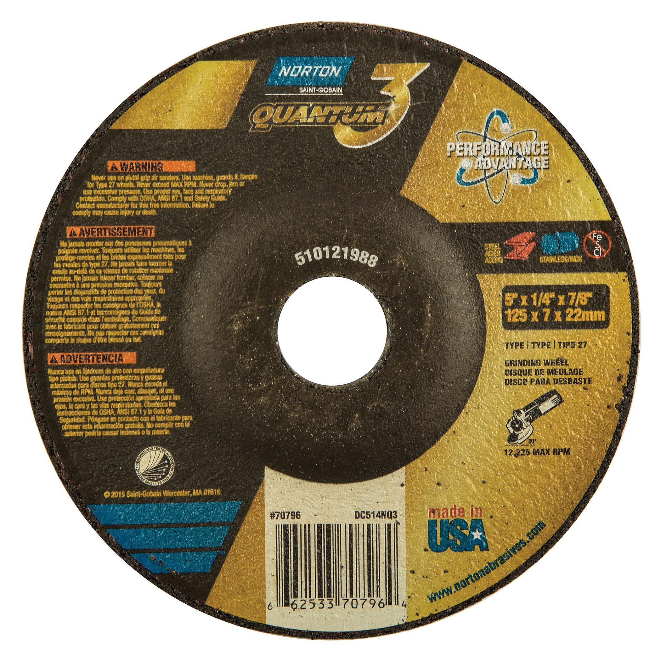 Norton® Quantum™3 66253370796 SG Series Depressed Center Wheel, 5 in Dia x 1/4 in THK, 7/8 in Center Hole, 20 Grit, Ceramic Alumina Abrasive