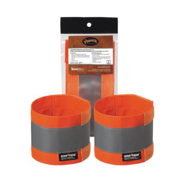 PIONEER® 142A Adjustable Reflective Ankle Band, Universal, Hi-Viz Orange
