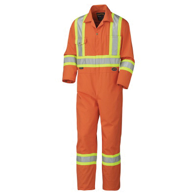 PIONEER® 5514-36R Safety Coverall, Men's, S, Hi-Viz Orange, Poly/Cotton, 36 in Chest, 31 in L Inseam
