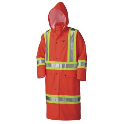 PIONEER® 5896-2XL Flame-Resistant Long Safety Coat, Men's, 2XL, Hi-Viz Orange, Polyurethane/Polyester, Resists: Chemical, Flame, Oil, Water and Wind, Detachable Hood