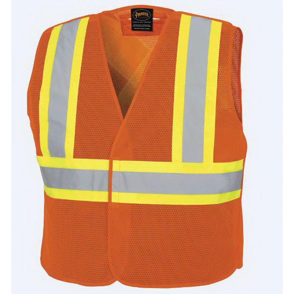 PIONEER® 597P-2/3XL Tear Away Safety Vest, 2XL/3XL, Hi-Viz Orange, Polyester Mesh, ANSI Class: 2, Specifications Met: CSA Z96-15 Class 2 Level 2, ANSI/ISEA 107-15 Class 2 Type P/R