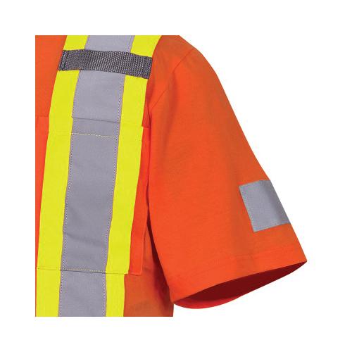 PIONEER® 6978-L Short Sleeve Safety T-Shirt, Men's, L, Hi-Viz Orange, Cotton
