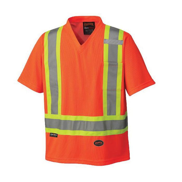 PIONEER® 6979-2XL Safety Traffic T-Shirt, Men's, 2XL, Hi-Viz Orange, Micro Mesh