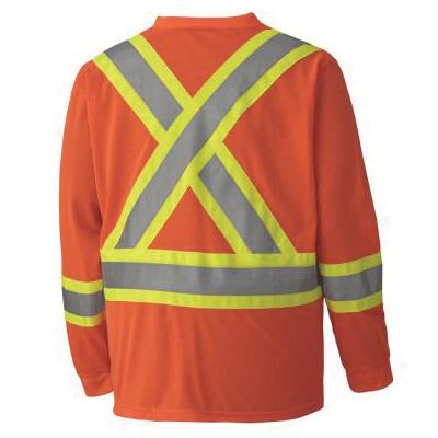 PIONEER® 6984-2XL Long Sleeve Safety Traffic T-Shirt, Men's, 2XL, Hi-Viz Orange, Micro Mesh
