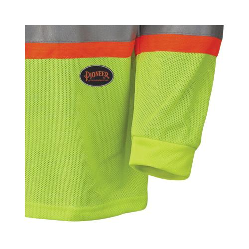 PIONEER® 6985-L Long Sleeve Safety Traffic T-Shirt, Men's, L, Hi-Viz Yellow/Green, Micro Mesh