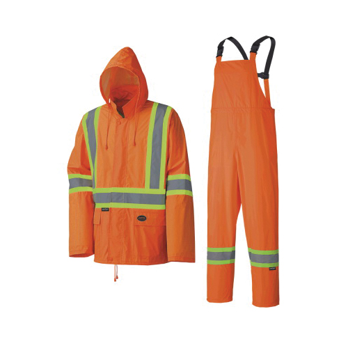 PIONEER® V1080150 Lightweight Waterproof Safety Rainsuit, Women, 2XL, Orange, Polyester/PVC