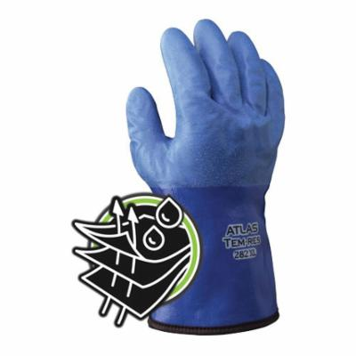 SHOWA® 282XL-10 Insulated General Purpose Gloves, Cold Weather/Coated, XL/SZ 10, Polyurethane Palm, 10 ga Acrylic, Blue/Yellow, Gauntlet/Knit Wrist Cuff, Micro Ventilated Polyurethane Coating, Resists: Abrasion, Blade Cut, Puncture, Tear and Water