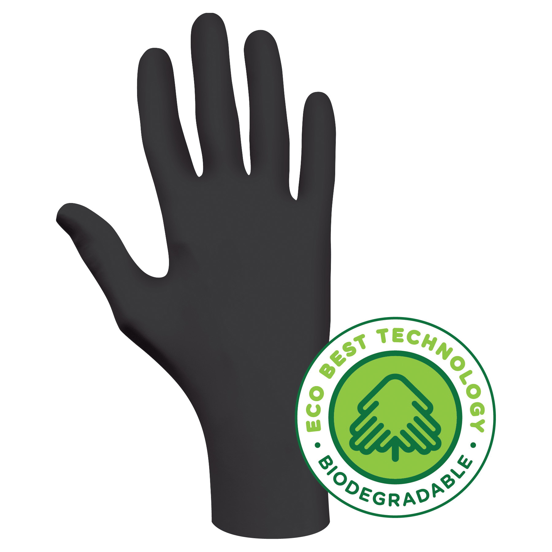 Showa Best® 6112PFL Bio-Degradable Disposable Gloves, L/SZ 9, Nitrile, Black, 9-1/2 in L, Non-Powdered, 4 mil THK, Ambidextrous Hand